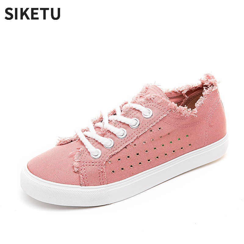 2018 New Arrival Female Pink Board Shoes Lace-up Ripped Design Women Casual Plat shoes Canvas Sneaker for women stylish mid waist cuffed denim ripped shorts for women