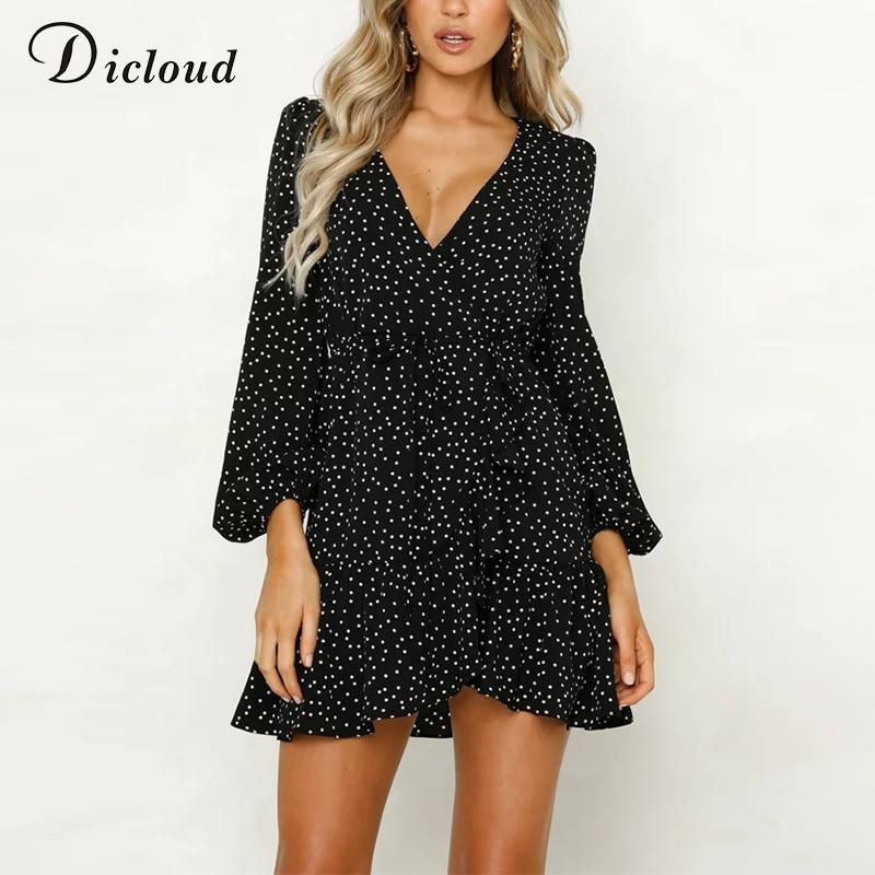 Dicloud V Neck Sexy Polka Dot Black Mini Dress Vintage Autumn Winter Women Long Sleeve Wrap Dress Elegant Party Dresses Ladies