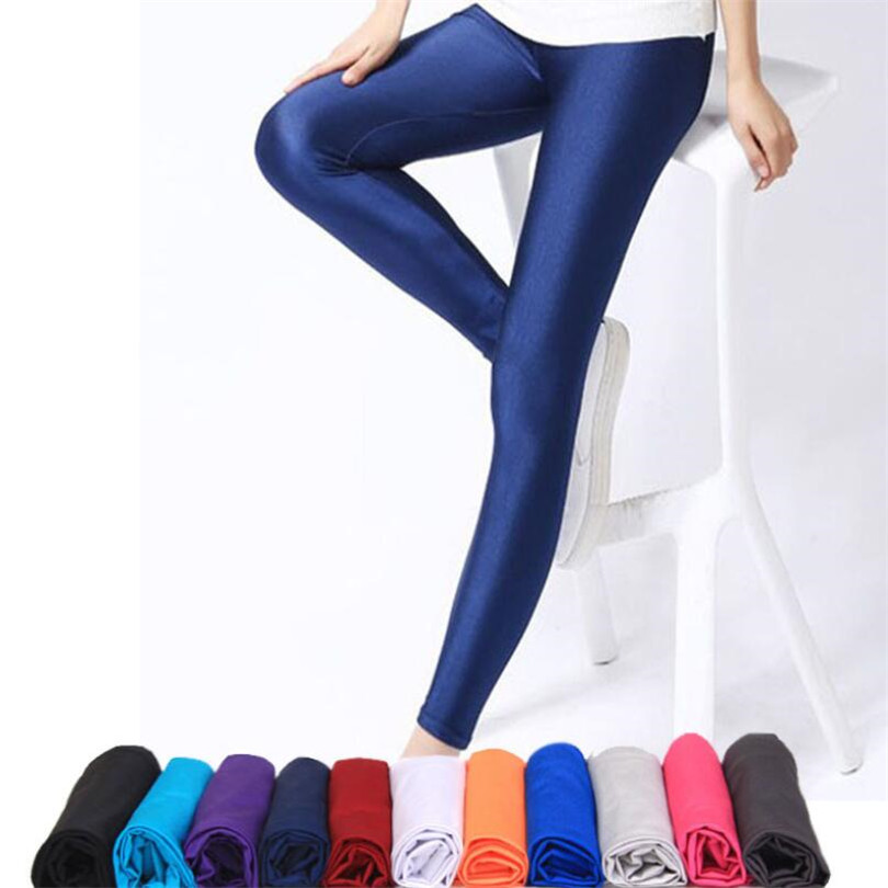 INDJXND Women Fitness Leggings Solid Color Fluorescent Shiny Pant Leggings Large Size Spandex Shinny Elasticity Casual Trousers