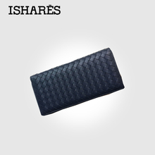 ISHARES Brand genuine leather women long wallets female two fold sheep leather weave coin purse card & ID holder IS6006