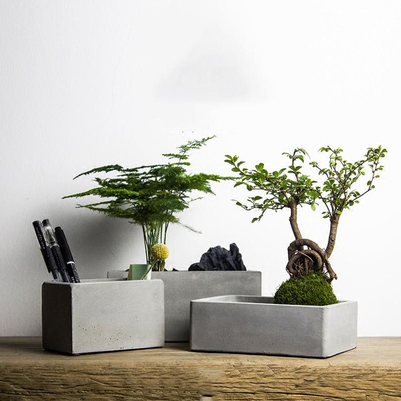 Rectangle large cement flower pot silicone mold home vase decoration succulent plants concrete planter pencil vase