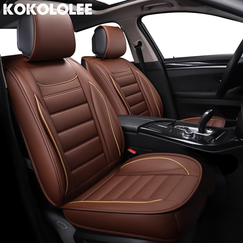 Kokoleee универсальные чехлы для сидений автомобиля из искусственной кожи для ford focus 2 peugeot 206 bmw e46 passat b5 subaru kia автокресла автостайлинг