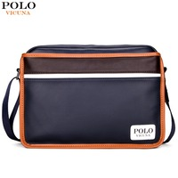 VICUNA POLO Casual Patchwork Men Messenger Bags High Quality Mens Leather Striped Bag Famous Brand Male