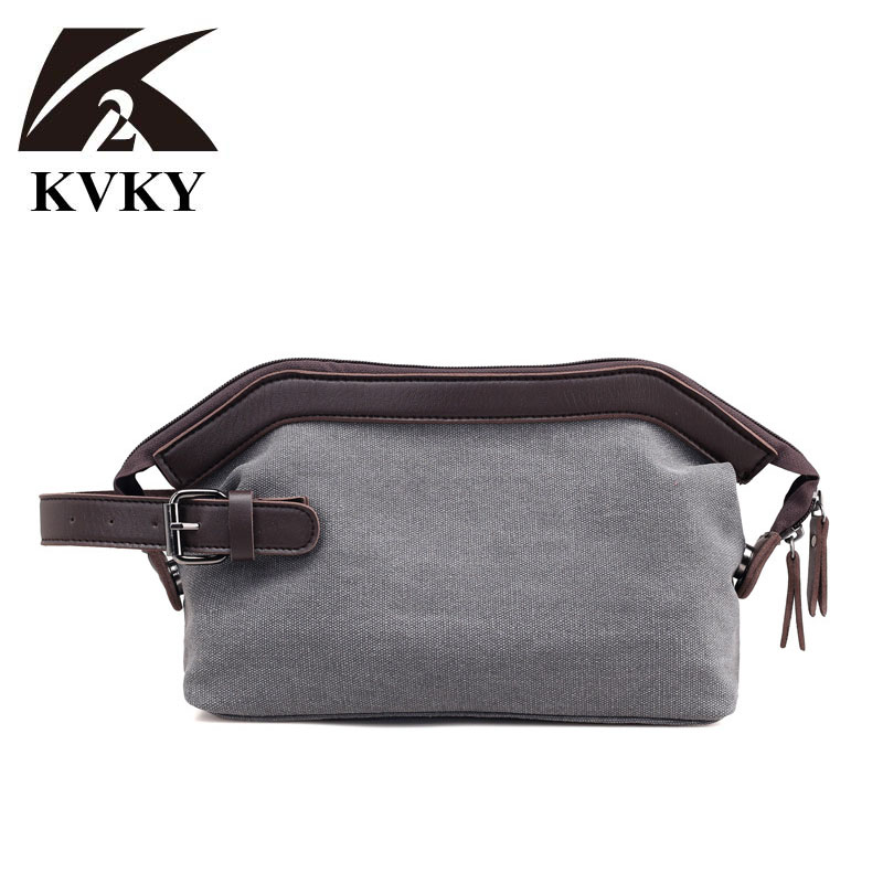 And Handbag Canvas & PU Leather Envelope Day Clutch Bag Wrapped Canvas Bag Retro Hand Bag Wrist Bag