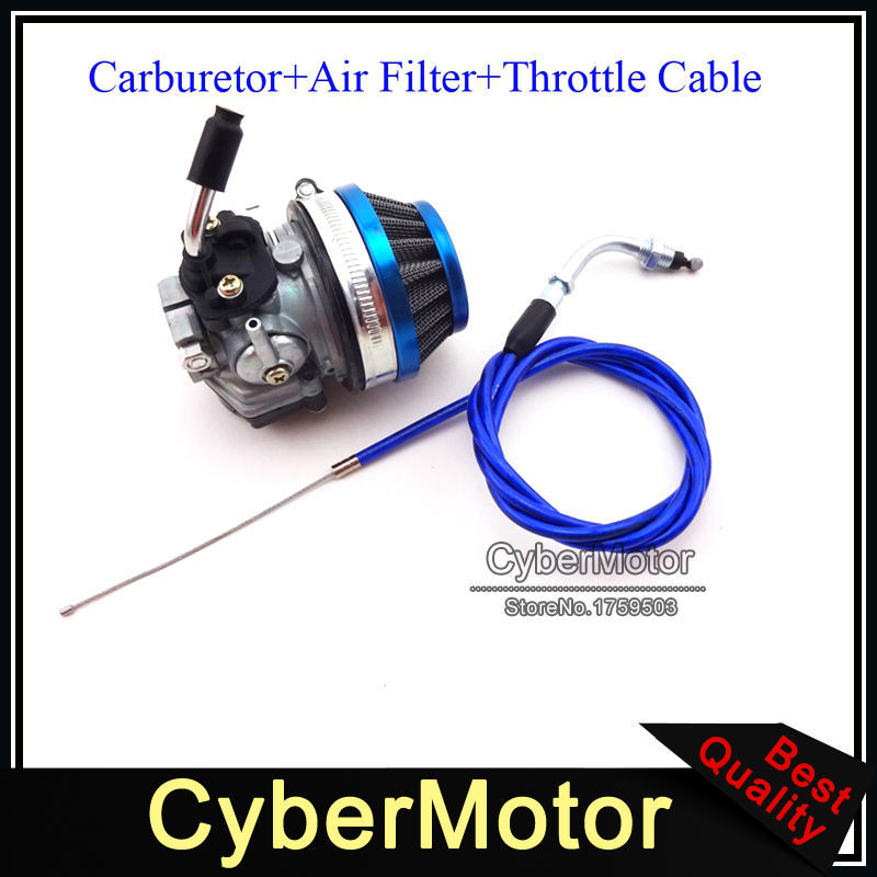 Blue Racing Carburetor Carb Air Filter Gas Throttle Cable For 2 Stroke 49cc 50cc 60cc 66cc 80cc Engine Motorized Bicycle