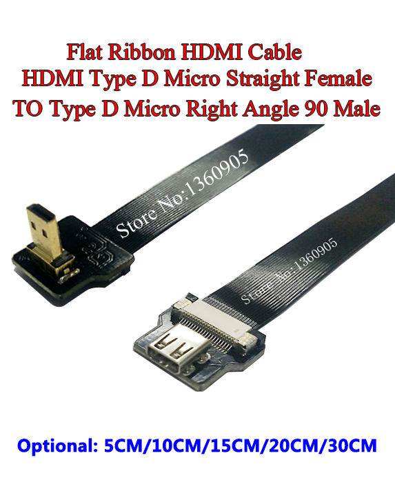 5/10/15/20/30CM Ultra Thin HDMI Cable Straight Type D Micro Female To Male Micro Right Angle 90 Degree Flat Ribbon Cable FPV DJI