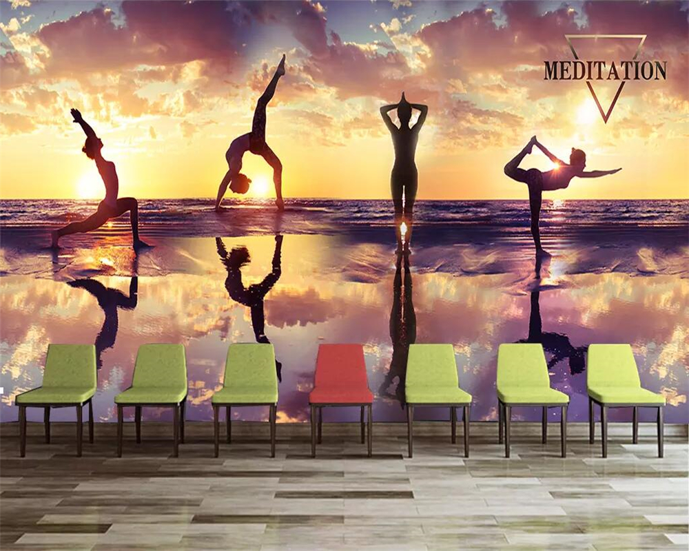 Beibehang Custom Wallpaper 3D Mural Photo Fashion Sunset Dusk Yoga Fitness Club Tooling Background Wall Decorative Wall