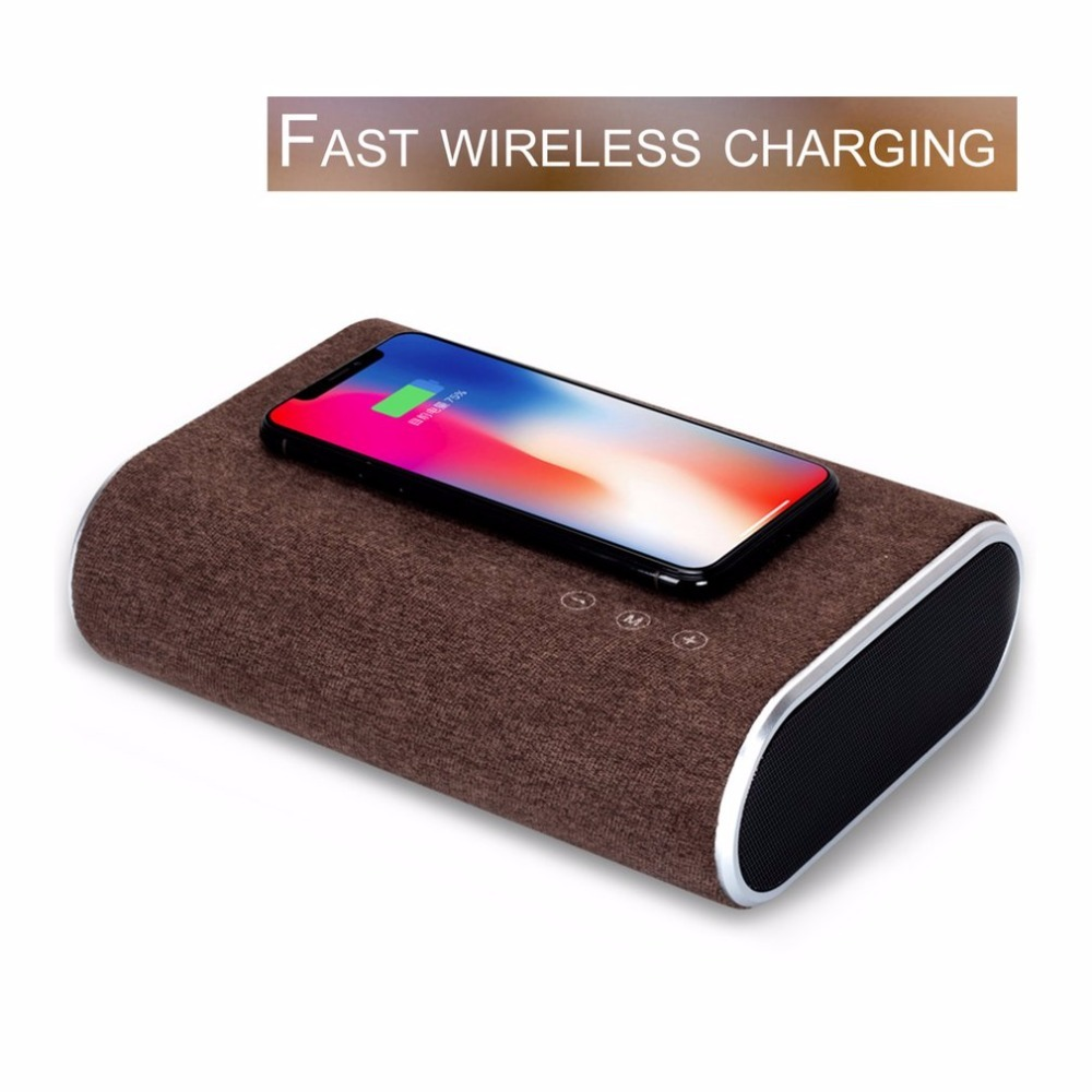 цена на Portable Bluetooth Speaker Multifunctional Dual-core Chip Wireless Fast Charger Stereo Music Player Support AUX Input