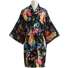 7cf4a7dabf Charming Female Wedding Party Robes Chinese Bride Bridesmaid Dressing Gown  Summer Kimono Bathrobe Floral Sleepwear Nightgown