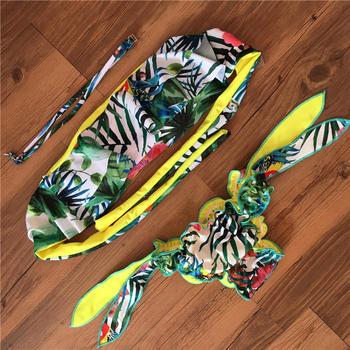 2017 New Plant Print Halter Bathing Suit Strapless Bra Push Up Sexy Bikini Set Women Swimwear Bandeau Swimsuit Beachwear Plavky 2