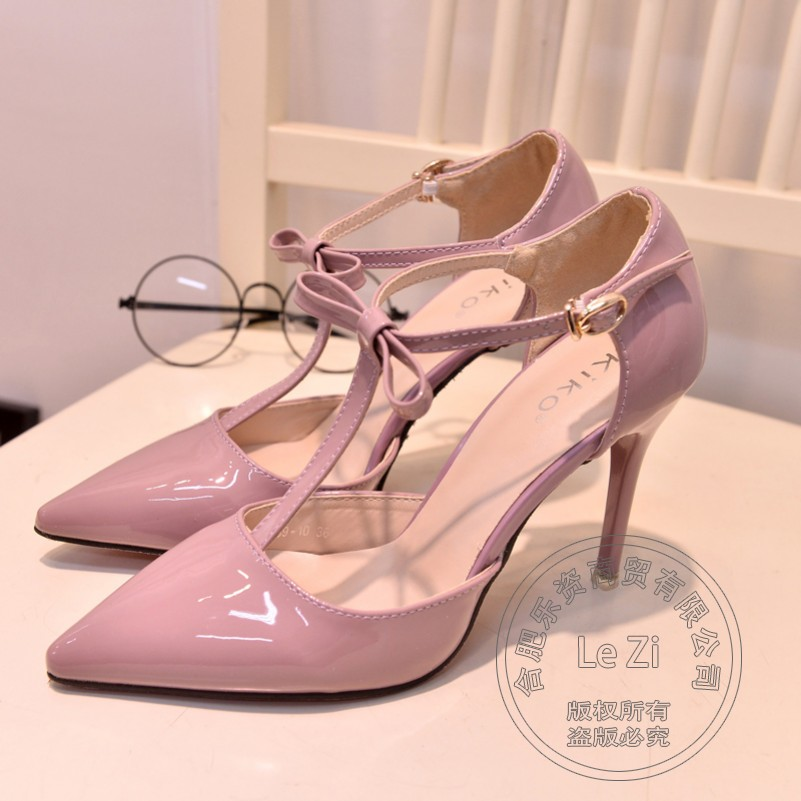 Nice Bright Stiletto Heels Pu Soft Leather Sexy Pumps Pu Buckle Strap Office Formal Buckle High