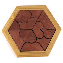 Classic 11 Heart shaped Puzzles Wood Geometric Abnormity Shape Puzzle Wooden Tangram/Jigsaw Board Kids Children Educational Toy