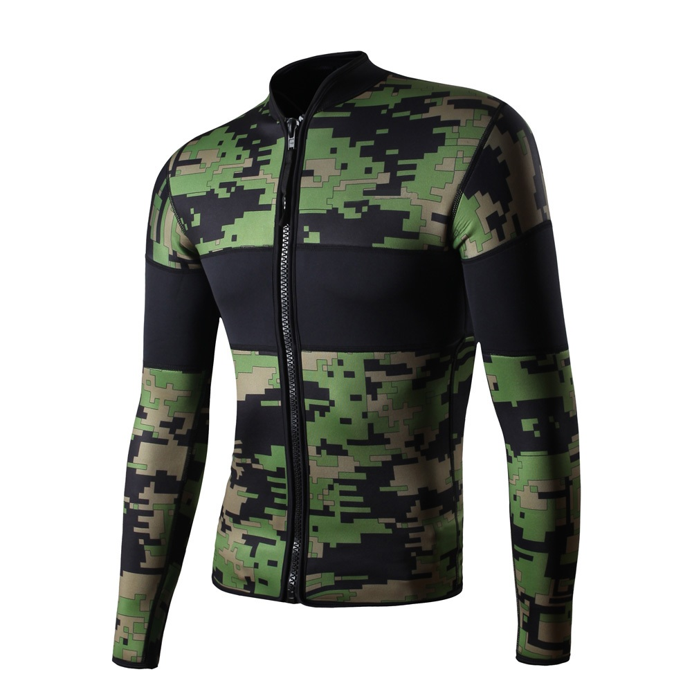 Camo 2.5mm Neoprene Long Sleeve Wetsuit Diving Jacket Snorkeling Surfing Jacket Scuba Diving  Suit for Men Thermal Wetsuits high quality cortex 3 5mm surf diving wet suits jacket men women surfing diving spearfishing wet suit long sleeve jacket wetsuit