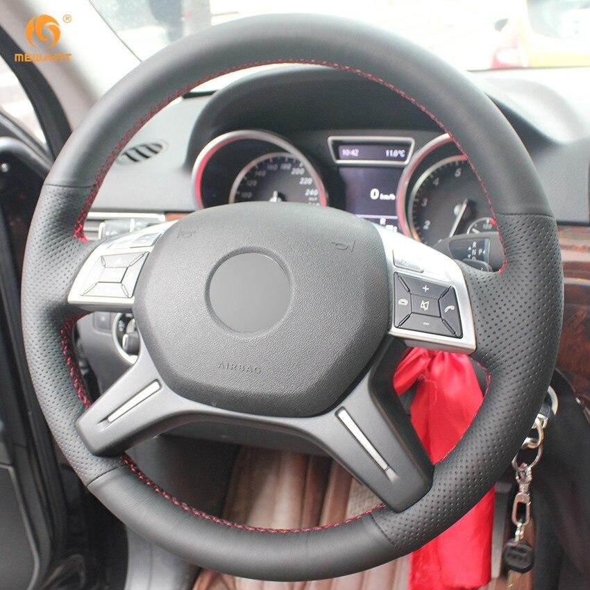 MEWANT Zwarte Kunstmatige Lederen Auto Stuurhoes voor Mercedes Benz ...