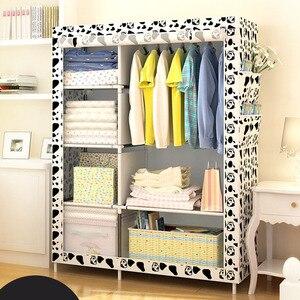 Image 4 - Grande garde robe moderne minimaliste renforcée, bricolage, armoire de rangement en tissu Non tissé, Portable et pliable, placard anti poussière