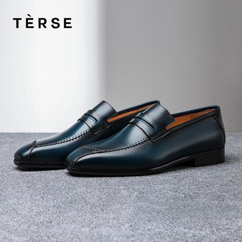 TERSE_2018 nouveauté chaussures en cuir véritable hommes d'affaires mode mocassins 3 couleurs fonctionnelle en cuir chaussure Logo personnalisé 1516-1