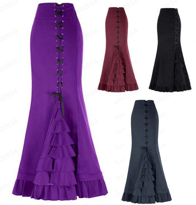 Womens Fashion Solid Colour Vintage Bandage Mermaid Skirt Skirt Women Cute Sweet Girls Dance Skirt Юбка Skirt