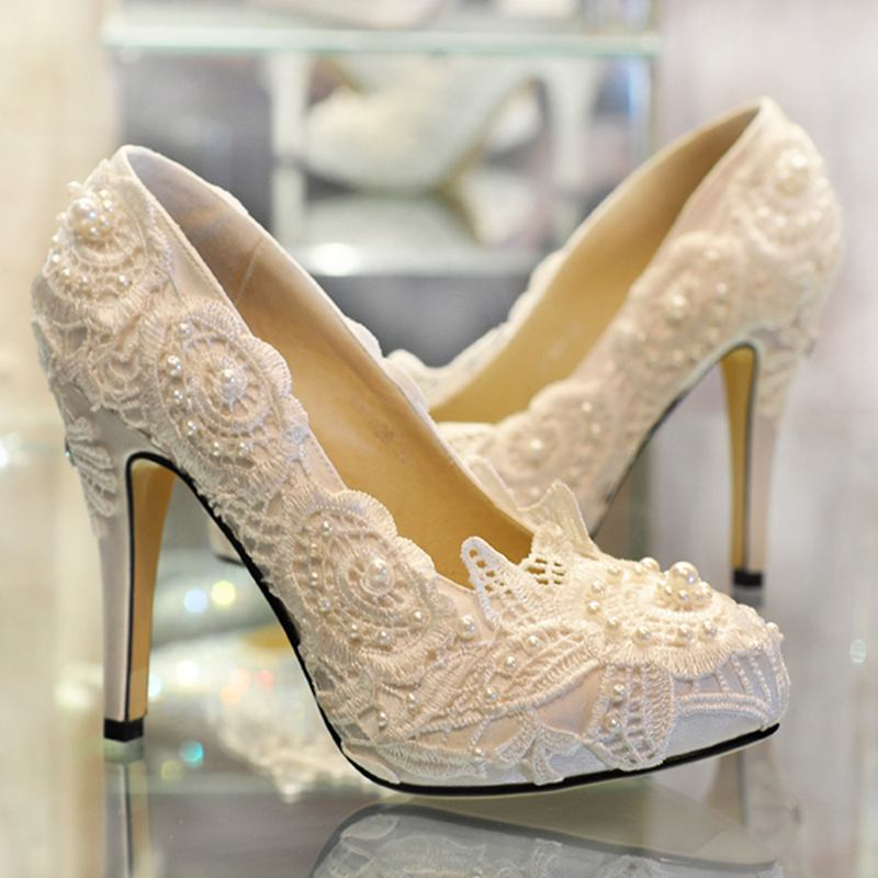 Aliexpress Buy 2016 Newest Ivory Lace Women Wedding Shoes Genuine Leather High Heels