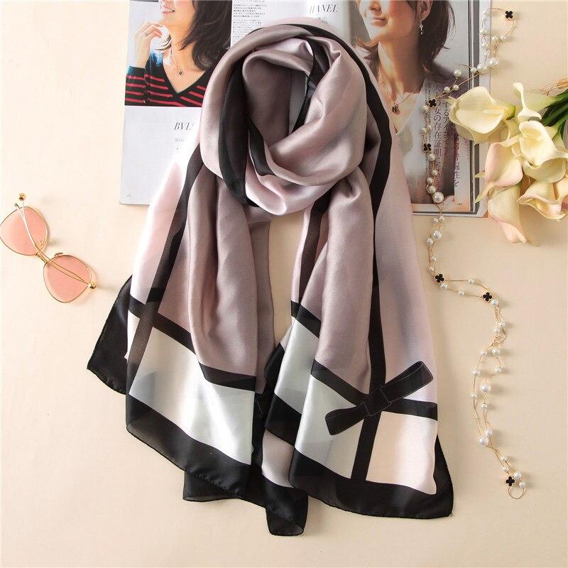 2019 Spain Luxury Brand Women's Scarf Fashion Lady Plaid Silk Scarves Print Soft Shawls Pashmina Foulard Bandana Hijab 180*90Cm
