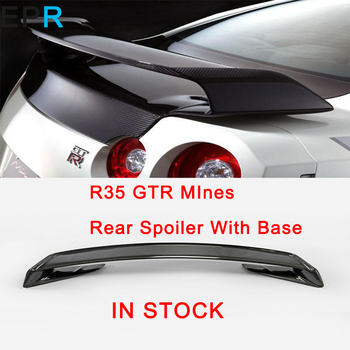 GTR R35 Karbon Fiber MInes Arka Spoiler Için Taban Ile Nissan Parlak Fiber Bagaj Kanat Yarış Oto Aksesuarları Gövde Kiti