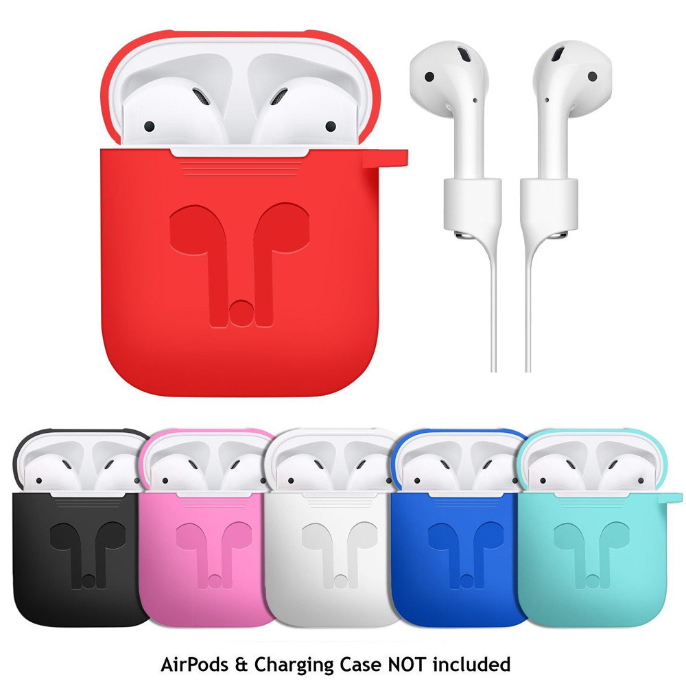 Case Cover for Apple AirPods + AirPod Strap Silicone Protective Charging Sport Cover Skin Case Carabiner Anti-lost Earphone