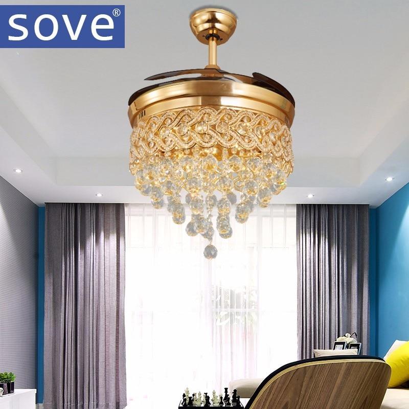 Modern Luxury Folding Ceiling Fan Crystal Led Lamp