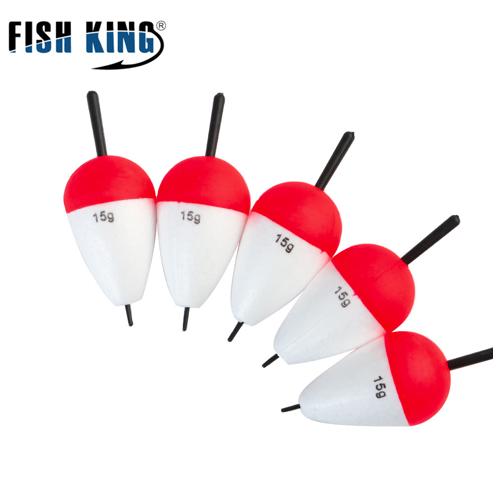 FISH KING Fishing Float Tube 10pcs/lot 15g Foam Float Boias De Esca Flotador Bobber Fishing Light Stick For Fishing Tackle(China)