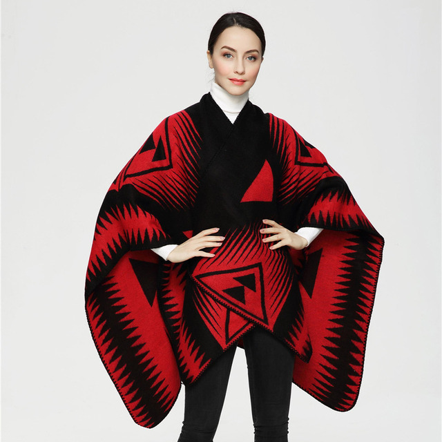 2016 New Arrival Euro Fashion Two Color Triangle Print Women Scarves Big Shawl Cashmere Scarf Poncho Duplex Cape PJ010