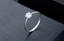 Sterling Silver Cubic Zircon Solitaire Ring Fashion Jewelry