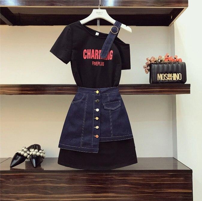 2019 nouvelle mode été femmes sans bretelles épaule lettre Long t-shirt + taille haute Denim jupe deux pièces étudiant filles jupe ensemble