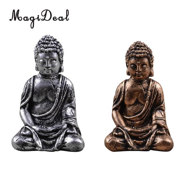 Antique Table Decor Buddha Statue Collectable Religious: MagiDeal Resin SEATED BUDDHA STATUE Hand Painted Hindu