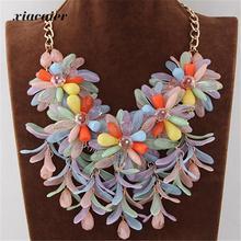 xiacaier Sweet Flower Pendant Necklace Choker Statement Necklace For Women Jewelry Bijoux Femme Colar Beach Dress Accessories