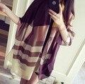2016 lenço no pescoço de cetim lenços tippet envoltório xadrez mulheres lenço de seda capa feminino senhoras xale foulard femme Desconto