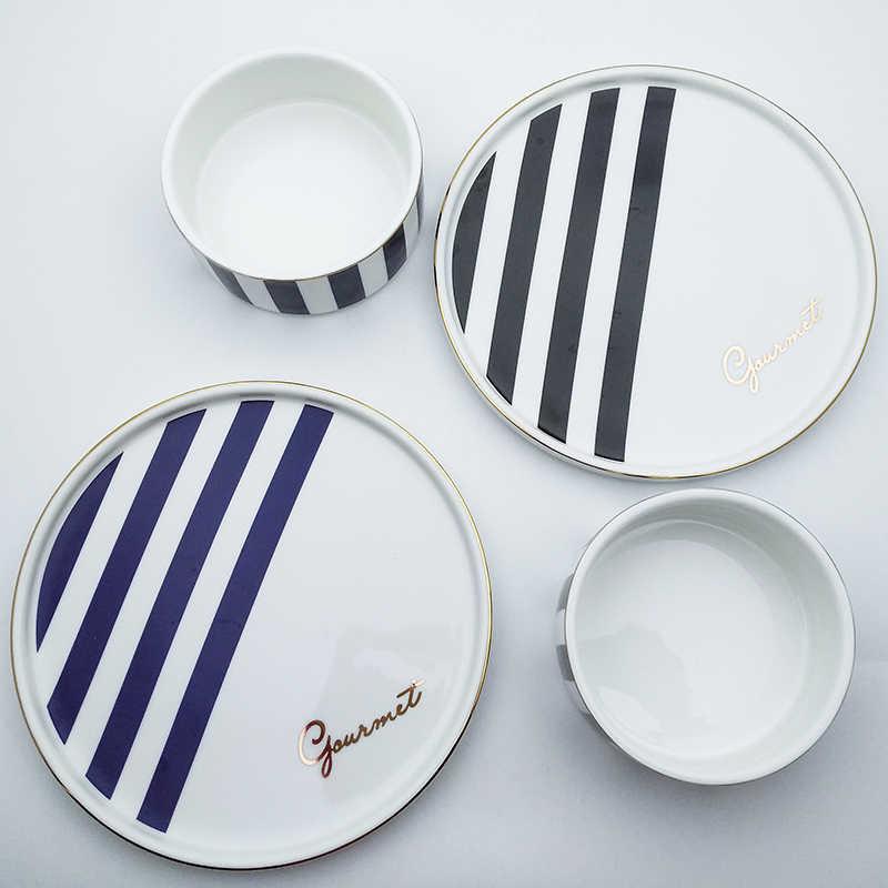 Европейский геометрический поднос для завтрака, керамическая миска для супа, хлеба, салата, макаронных изделий, тарелок, риса, молока, кукурузы, миски, Рождественская столовая посуда