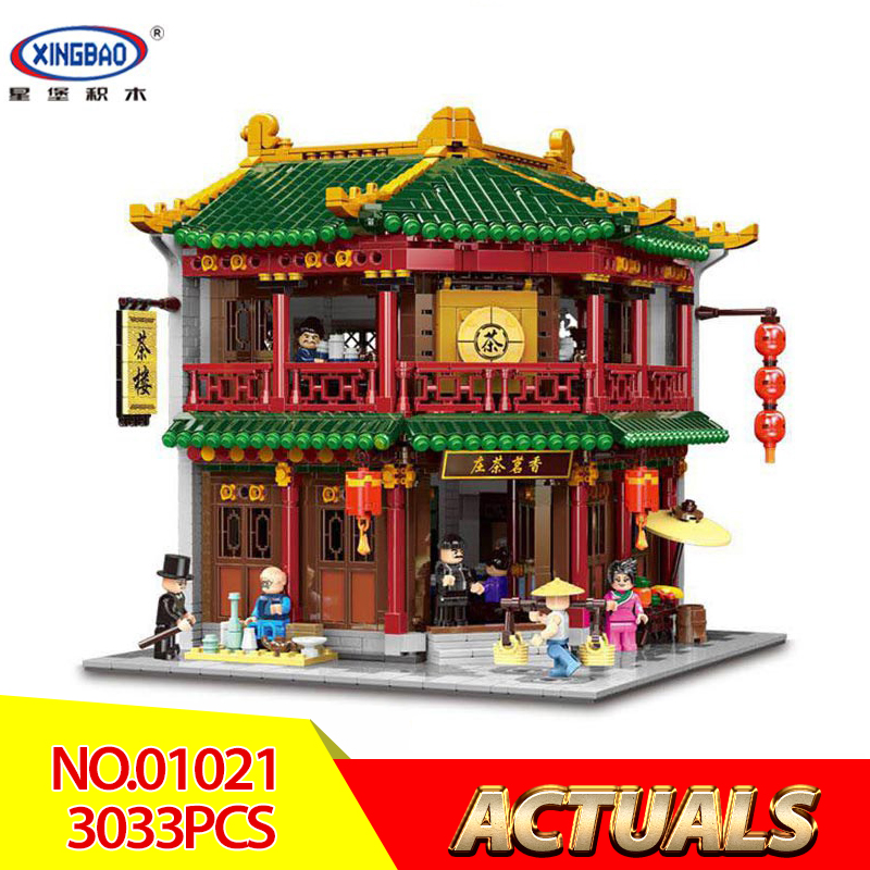 XINGBAO 01021 3033Pcs Chinese Building Series The Toon Tea House Set Children Building Blocks Bricks Educational Toys Kids DIY