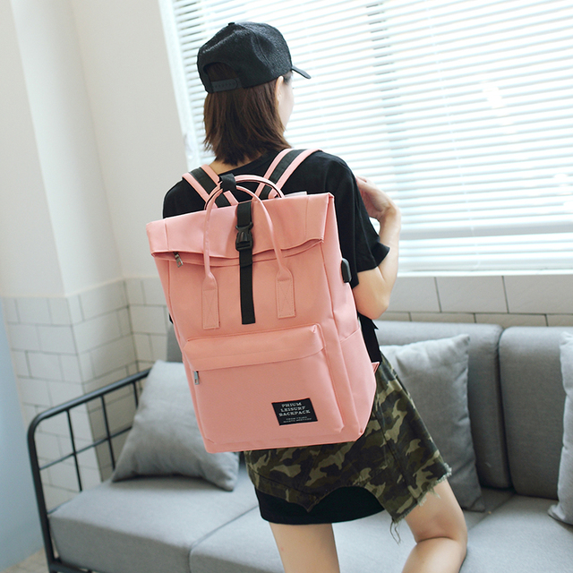 Women External USB Charge Backpack Canvas Rucksack Male Mochila Escolar Girls Laptop Shoulder School Bags Backpack for teens 4