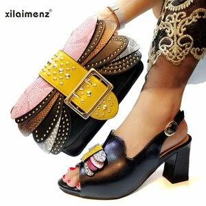 Image 4 - בוגר סגנון איטלקי גבירותיי נעל התאמת תיק Pu ניגרי נעלי למסיבה נשים נעליים ותיק כדי להתאים ב ורוד