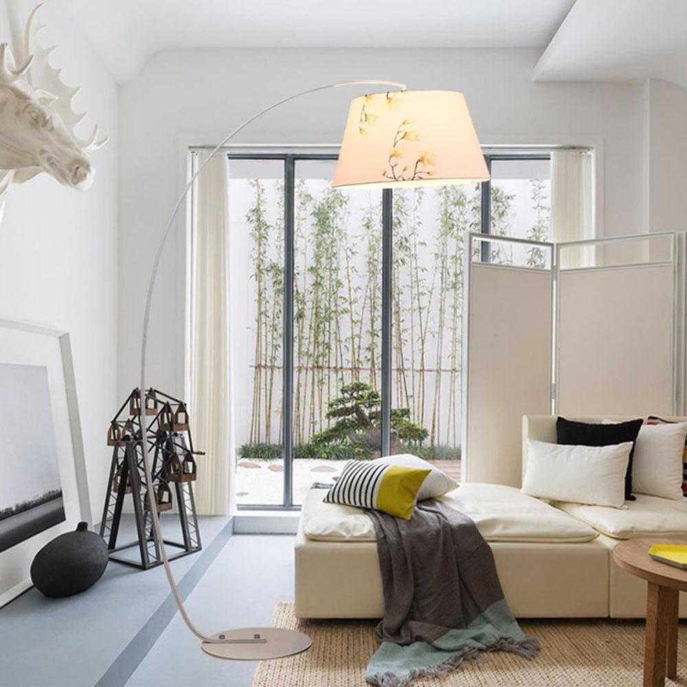 US $487.31 25% di SCONTO Stile nordico Moderno Pavimento Lampade per  Soggiorno 110 V 220 V E27 nero \\ Bianco Marmo Lungo Braccio Lampada  Interruttore ...