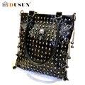 Женщины панк заклёпка череп сумочка кожа сумки плеча кроссбоди сумки винтажный сумка-мессенджер для женское черный