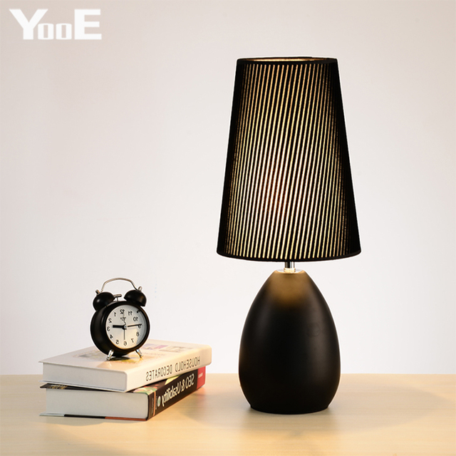 Modern Brief Europe Cloth Lampshade Black / White E27 Table Lamp Night Light for Bed Room Decor Lighting