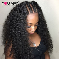 Afro Kinky Curly 360 Lace Frontal Wig Pre Plucked With Baby Hair 150% Brazilian Lace Front Wigs For Women Remy Hair You May