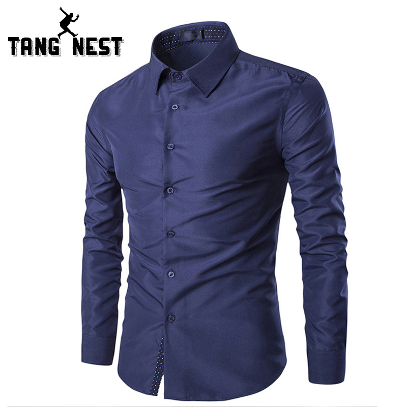 TANGNEST 2018 Long-sleeved Single Breasted Men Shirt Slim Business Camisa Masculina Casu ...