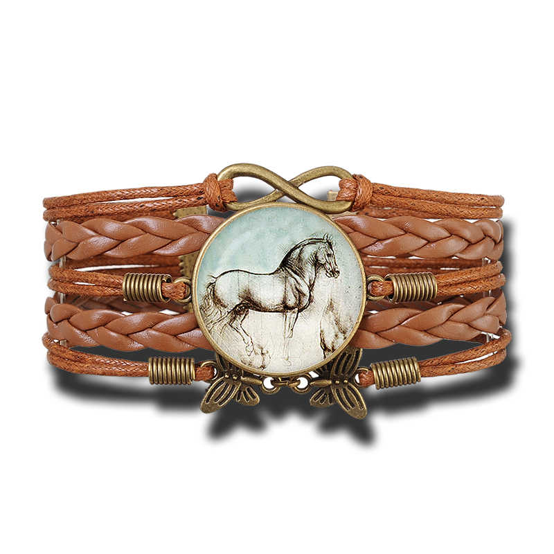 Horse Jewelry Lovely Horse Photo Glass Cabochon Leather Charm Bracelet Women Fashion Butterfly Infinity Butterfly Bracelet Gifts
