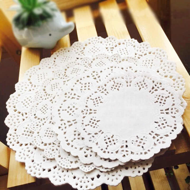 100 pces 4inch 10cm branco redondo laço papel doilies/doyleys, vintage coasters/placemat artesanato casamento decoração de mesa de natal