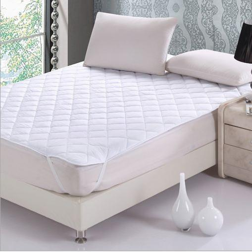 One Piece White Quilted Mattress Pad With Soft Polyester Filling Single Double Queen King Mattress Cover Also Call Fitted Sheet