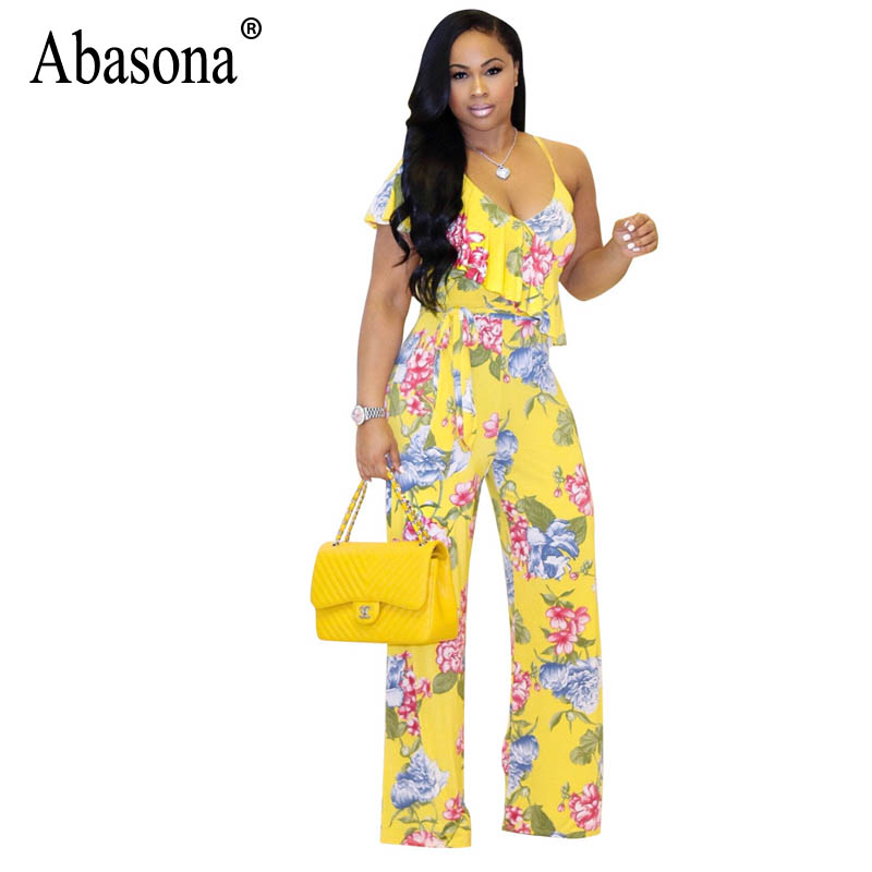 Abasona Women Floral Printed Boho Beach Jumpsuits Sexy Strap One Shoulder Wide Leg Rompers Ruffle Sleeve Belted Summer Jumpsuits