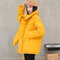 2019 Winter Coat Women Solid Outwear Medium Long Wadded Harajuku Snow Parka thickness Cotton Warm Down Jacket Plus Size Outwear