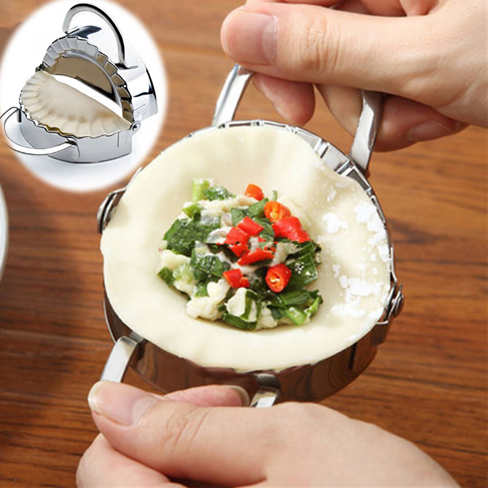 2Pcs Stainless Steel Wrapper Dough Presser + Dumpling Maker Mould Dumpling Wrapper Cutter Making Machine Cooking Pastry Tools ...