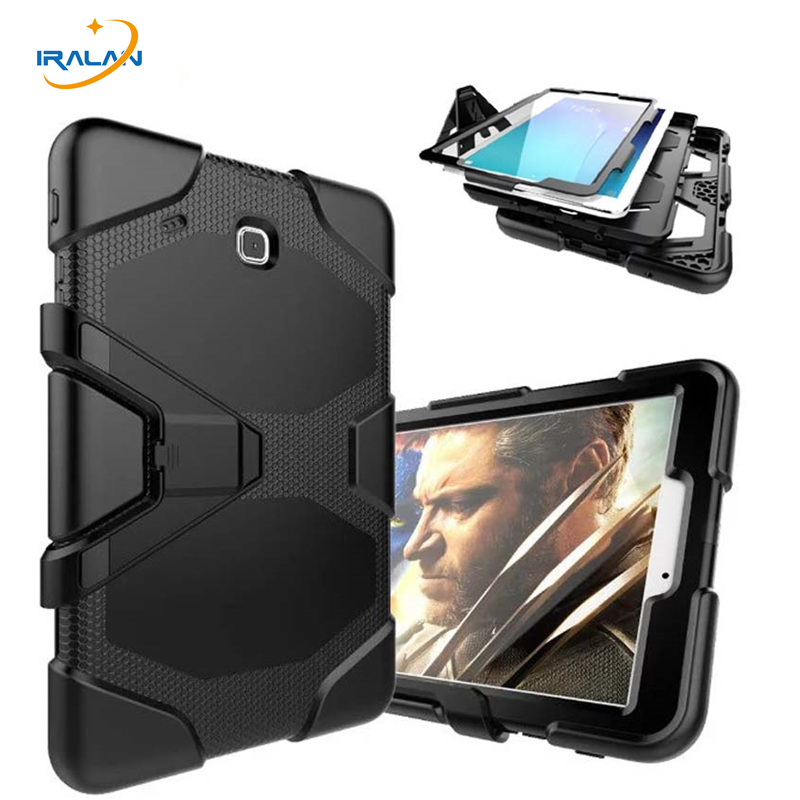 New Fashion Shockproof Hard Case For Samsung Galaxy Tab E 9.6 T560 T561 Military Heavy Duty Silicone Rugged Stand Cover+3 in 1 metal ring holder combo phone bag luxury shockproof case for samsung galaxy note 8