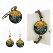 Long chain necklace vintage Metatron's Cube necklaces pendants suede leather bracelet and dangle earrings set dubai jewelry sets